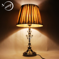 Modern minimalist fabric crystal desk light vintage E27 LED 220V art deco table Lamp for Reading bedside restaurant office hotel