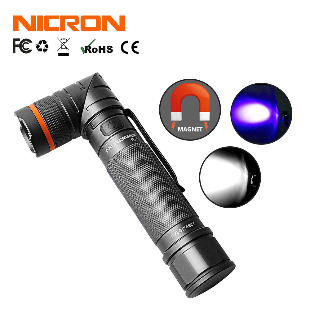 NICRON Magnet 90 Degree Twist UV/ White 2-Color Rechargeable Flashlight 18650 2500mAh Li-ion Battery 5W 80m Beam Distance B75 стоимость