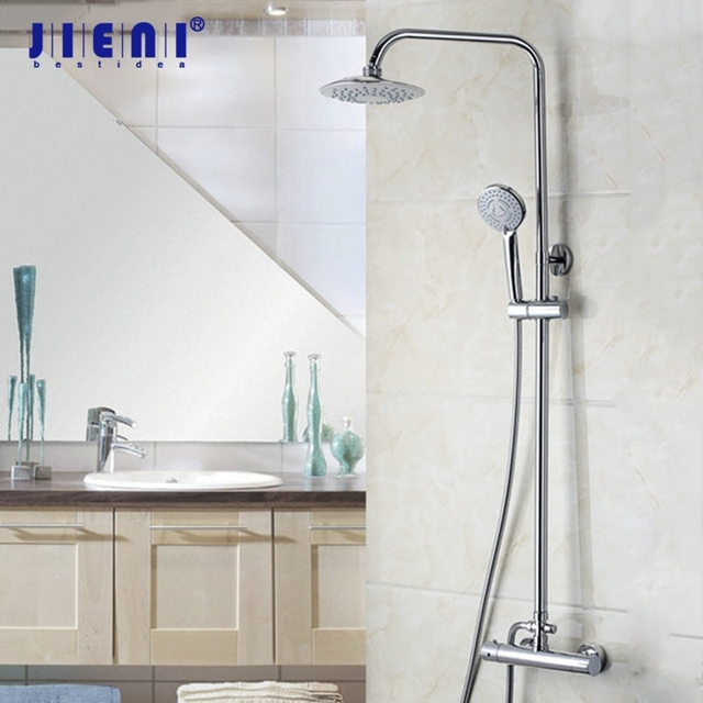 Thermostatic Shower Valve Led 8 Inch Rain Shower Head Shower Set