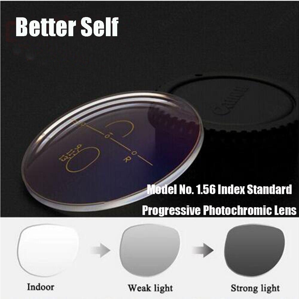 1.56 photogris Standard face avant Multi focale Progressive photochromique Transition lentille myopie presbytie Photobrown mieux auto
