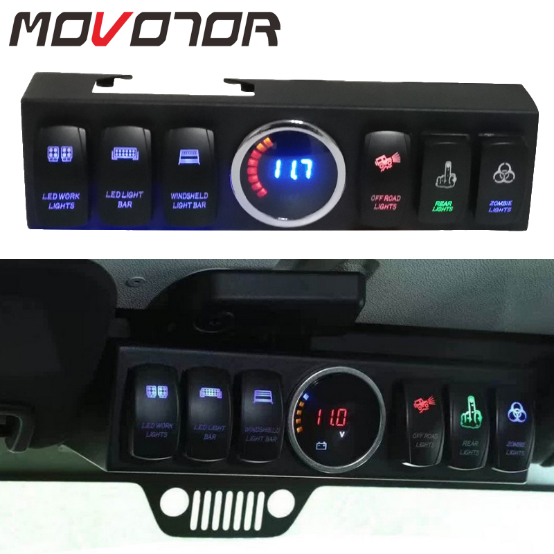 Overhead 6 Rocker Switch Pod or Panel with Control and Source System Blue Back Light for