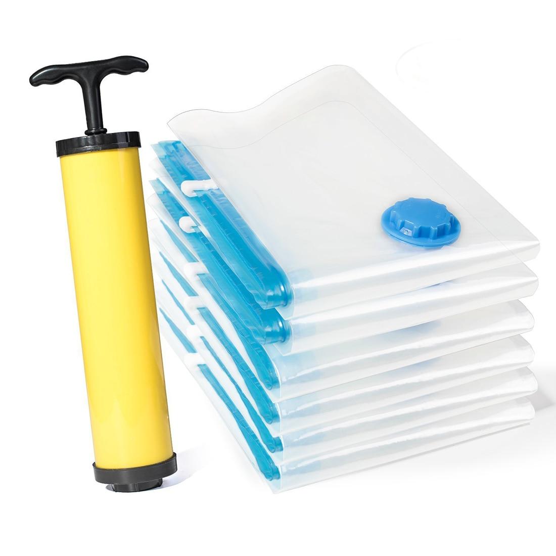 6 Pcs/Set Storage Bag Pump Pouch Bag Practical Compress Thicken Storage Bag Home Storage Organization Travel Accessories F