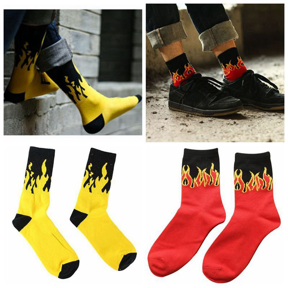 2017 New Fashion Street Red Yellow Flame Pattern Meias Masculino Mens Hip Hop Skateboard Socks Calcetines Fu Underwear & Sleepwears