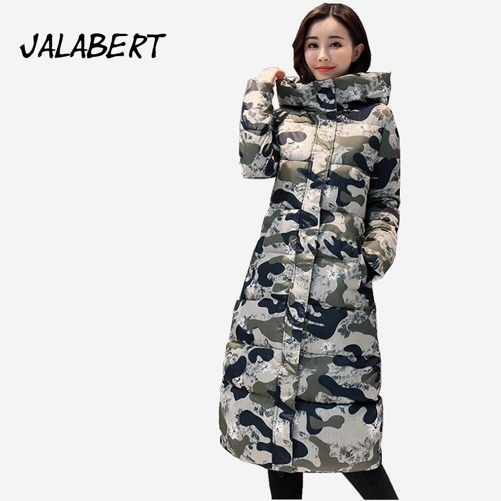 2017 winter new cotton clothing women Camouflage pattern long coat Female large size loose printing Hooded parkas jacket