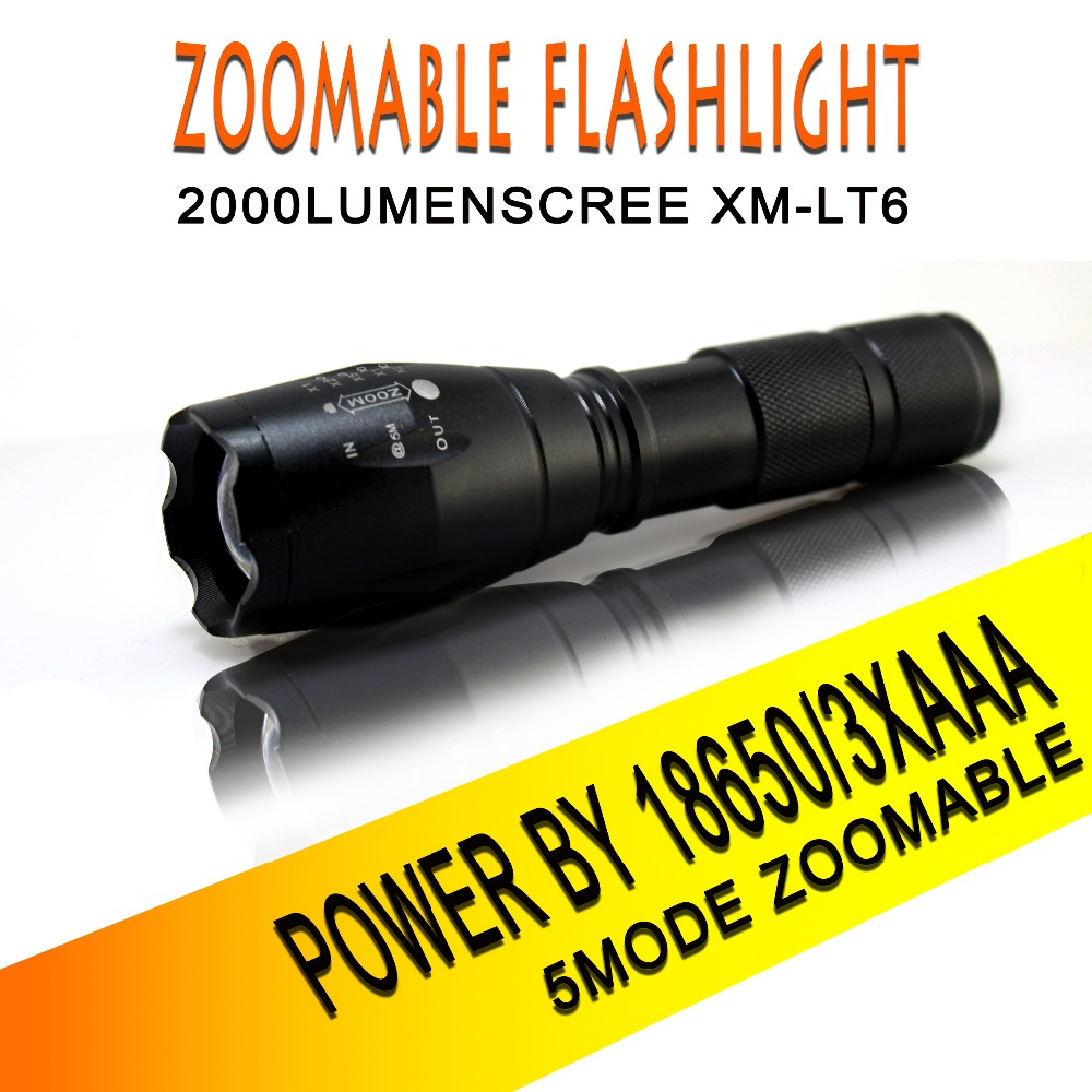 100% Authentic E17 6000 Lumens 5-Mode CREE XM-L T6 LED Flashlight Zoomable Focus Torch by 1*18650 or 3*AAA 100% authentic e17 6000 lumens 5 mode cree xm l t6 led flashlight zoomable focus torch by 1 18650 or 3 aaa free shipping