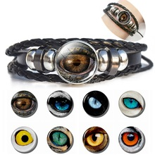 Dragon Evil Eye Bracelet Men Punk Evil Eye Black Charm Leather Bracele