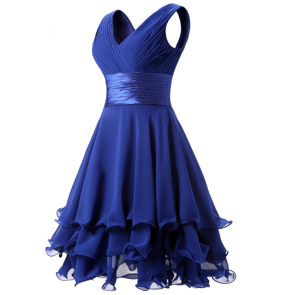 7dd5d2814d Dannifore Short V Neck Bridesmaid Dresses for Girls Wedding A Line Pleat  Prom Party Gowns Green Red Black Purple Royal Blue B013-in Bridesmaid  Dresses from ...