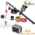 4 3-дюймовый цветной видеорегистратор с монитором для подводной рыбалки  комплект для видеокамеры  8 шт.  ИК-светодиодные фонари с взрывозащи...