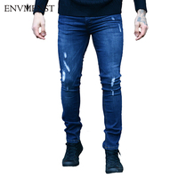 2018 Envmenst Slim Fit Ripped Jeans For Men Fashion Men's Distressed Denim Pants Biker Jeans Skinny Pencil Trousers Hole Design