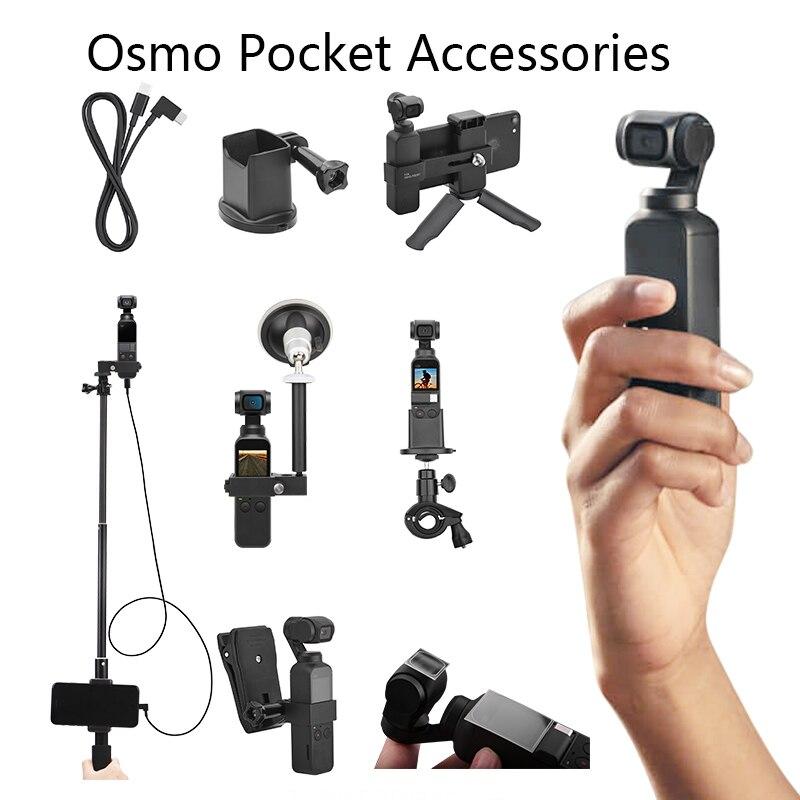 DJI Osmo adaptateur de poche pôle d'extension voiture support de vélo Film câble de données pour Ios type-c Android sac à dos Clip trépied de bureau