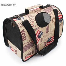 SYDZSW Outdoor Pet Products Cat Dog Pet Carrier Fashion Flag Letter Puppy Small Dog Bag Bilateral Breathable Waterproof Oxford