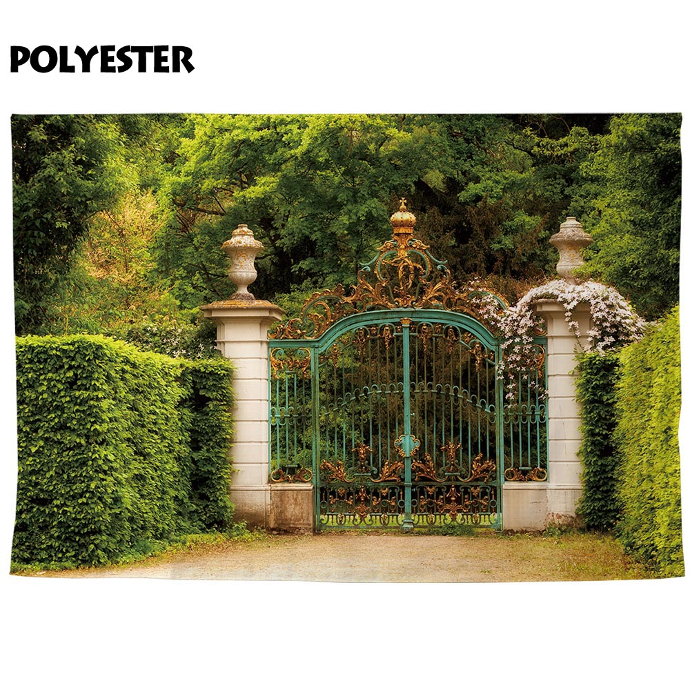 US $9 45 32% OFF|Allenjoy photography backdrop majestic gate golden crowns  natural garden background photobooth photo prop decor professional-in