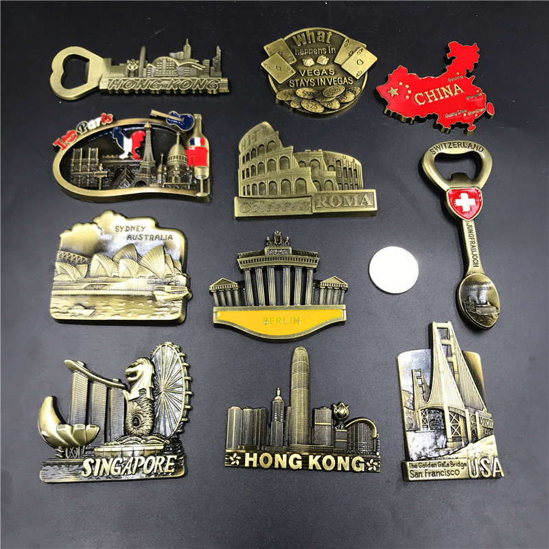 Metal 3D Magnets For Fridge Creative Singapore Australia Sydney Germany Berlin French Refrigerator Magnets Stickers Home Decor