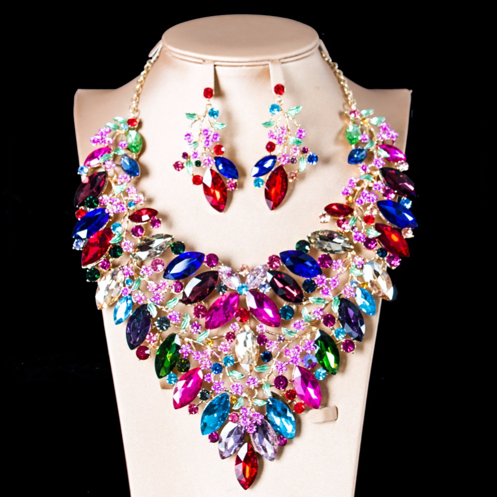 LAN PALACE bridal jewelry set nigerian glass set for women necklace and earrings for party  free shippingLAN PALACE bridal jewelry set nigerian glass set for women necklace and earrings for party  free shipping