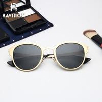 BAVIRON Polarized Cat Eye Sunglasses For Women Steampunk Vintage Retro Glasses Oval Sun Glasses Female Hot