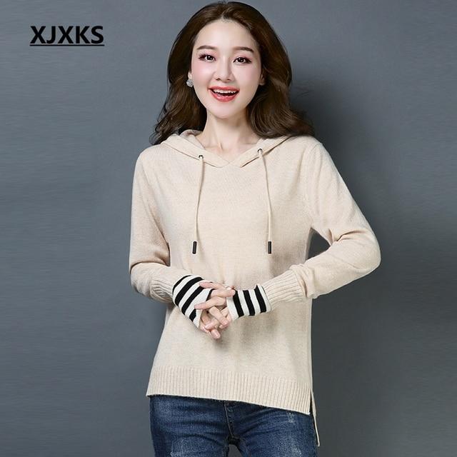 d6cf9db0808 XJXKS Autumn Winter Clothes Women Sweaters Knitted Warm Pull Femme Soft  100% Wool Pullover Women
