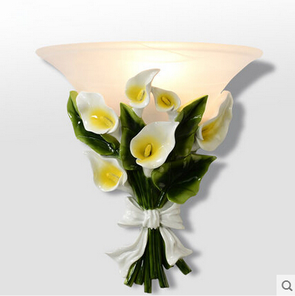 European Nature Resin Calla LED Wall Lamp Decorative Flowers Wall Sconce Fixtures For Balcony Aisle Bedside Light Home Lighting