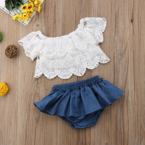 f9f2153c7 Summer Baby Girls Toddler Off Shoulder Lace Shortsleeve Tops Denim Shorts  Dress Outfits Clothes Baby Girl