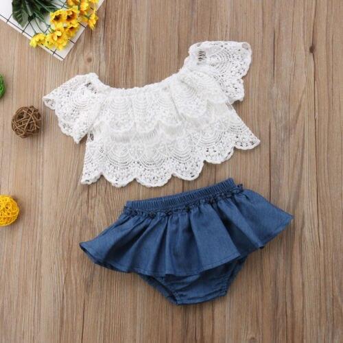 Verão bebê meninas da criança fora do ombro rendas manga curta topos denim shorts vestido roupas roupas da menina do bebê 0-3 t