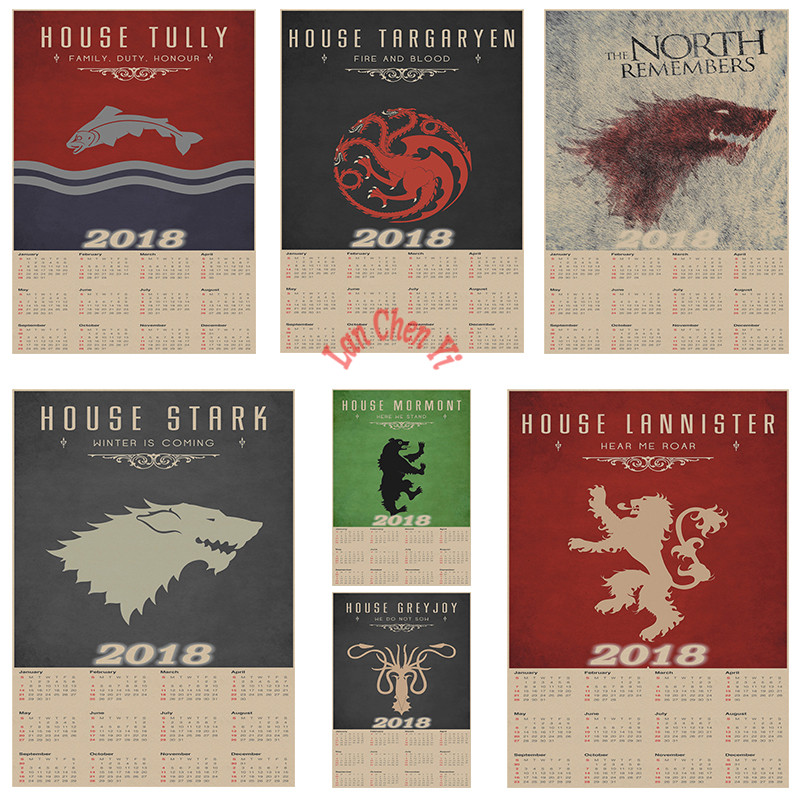 Game of Thrones 2018 Calendar Poster Office Gift Room Dining Home Decor wall sticker Design