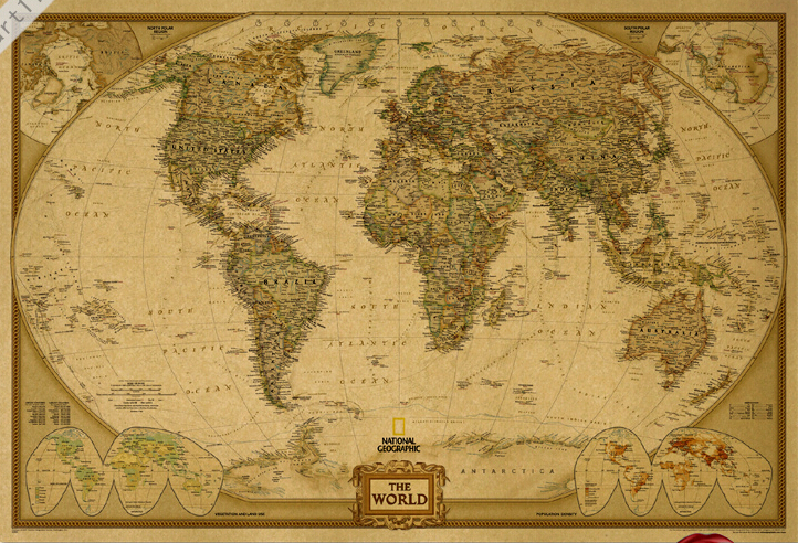 Vintage world map hd original english version poster retro art wall vintage world map hd original english version poster retro art wall home decoration 10068cm cm 61 in wall stickers from home garden on aliexpress gumiabroncs Gallery