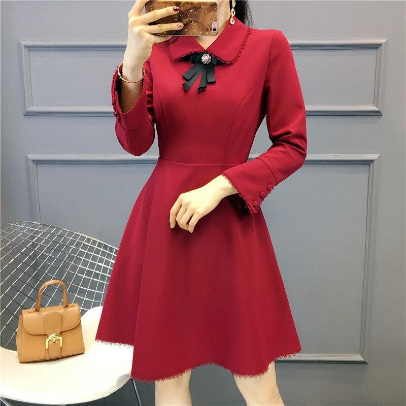 Chic pink Robe Broderie Designer 2019 Printemps Courtes red Qualité Black Supérieure Décontracté Impression En Motif Été Pour Femmes Soie Manches EUxqFY