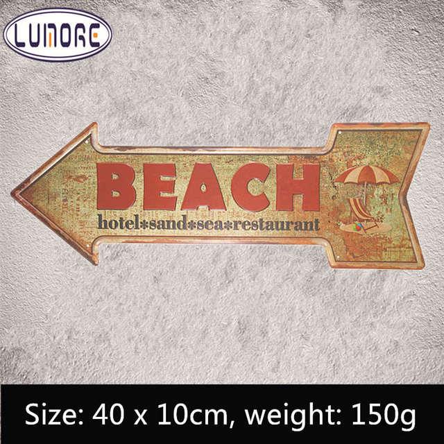 vintage beach arrow sign retro metal tin plaque bar coffee beer bar