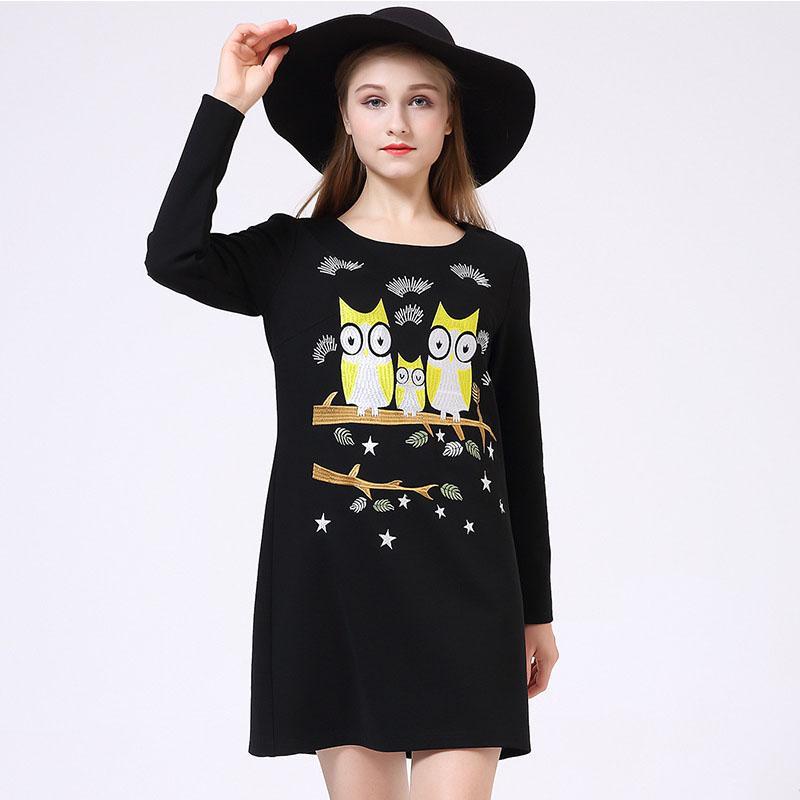 Woman Autumn Mini Dresses Black Long Sleeve Round Neck Drop Waist Owl Pattern A Line Dress Cute Party Dress