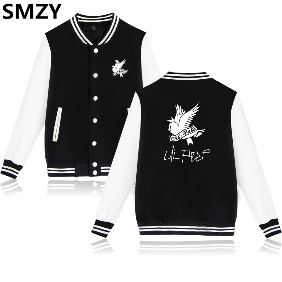 SMZY Lil Peep Baseball Vestes Hommes Sweat À Capuche D'hiver Populaire USA RAP Chanteur Sweats Hommes Hip Hop Célèbre Veste De Mode