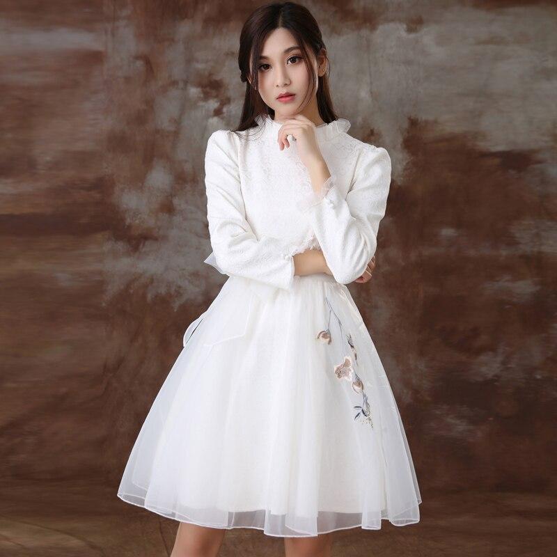 Wiosna Kobieta Embroiedry Sukienka Biała Szyfonowa Sukienka