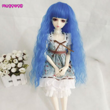 BJD Doll Hair High Temperature Fiber Long Afro Blue Wigs for 1/3 1/4 1/6 BJD/SD Dolls [wamami] 701 3pc blue flower clothes dress suit 1 6 sd dz bjd dollfie