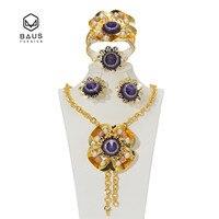 BAUS Afrikaanse Kralen Sieraden Set Dubai Nigeria Goud Kleur Vrouwen Bloem type bruiloft bruids sieraden collectie of Party Accessoires