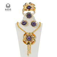 BAUS African Beads Jewelry Set Dubai Nigeria Gold Color Women Flower Type Wedding Bridal Jewelry Collection