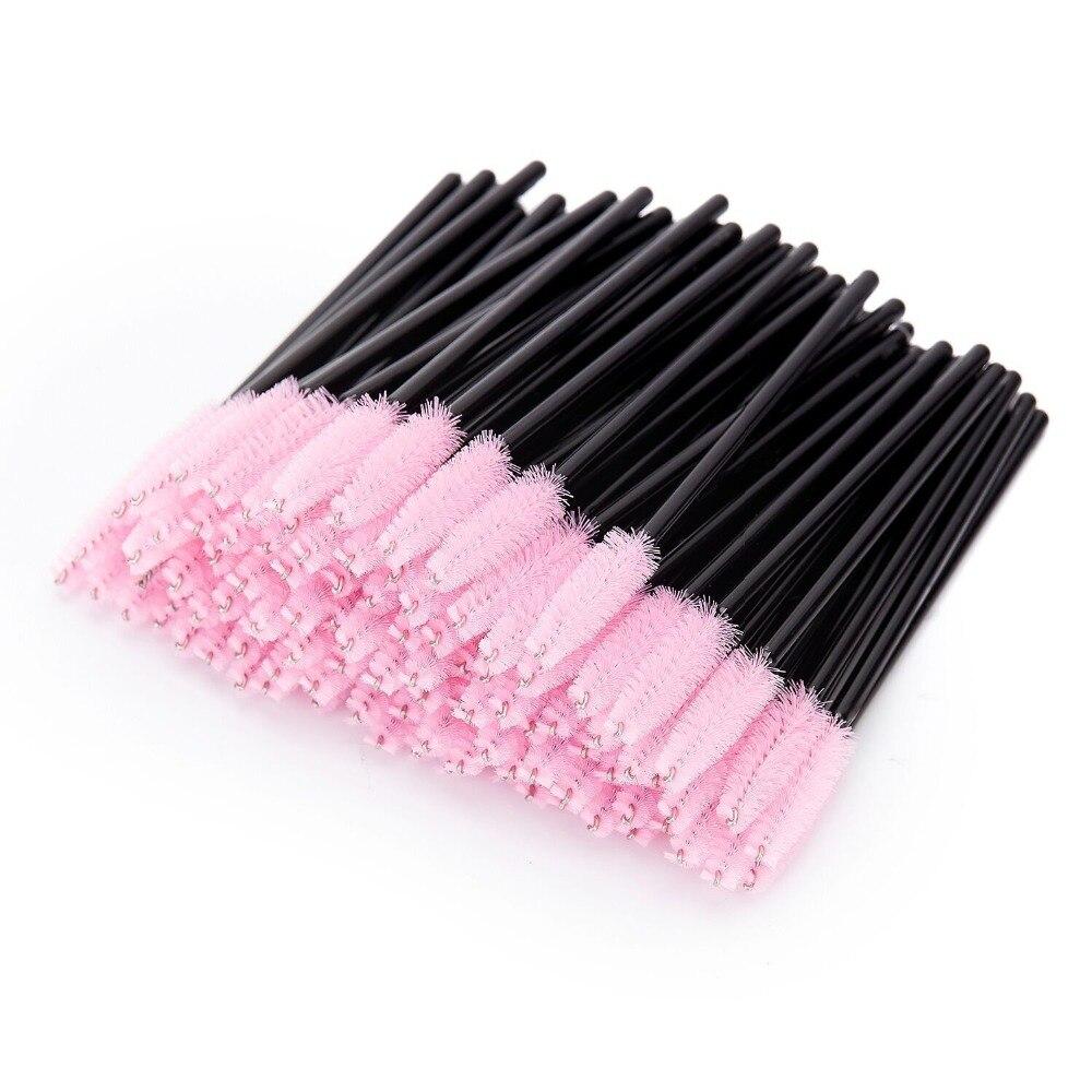 1000pcs Disposable Eye Lashes Brush Mascara Wands Applicator Eyelash Comb Individual Lash Pink Hair Make Up Brush Tools Kit