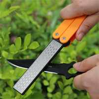 New Arrivals Folding Portable Double Sided Sharpener Diamond Sharpening Stone Outdoor Sports Camping Hiking Self-defense Kits