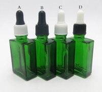 200 pçs/lote 30 ml Cobalto verde plana quadrado garrafa de vidro líquido com conta-gotas 1 oz conta-gotas de vidro Vazio recipiente de plástico
