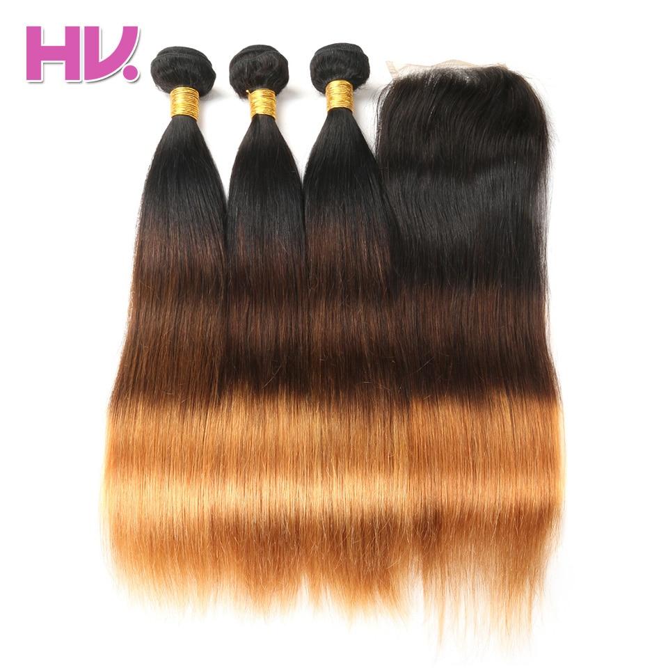 Hair Villa Pre-Colored Brasileño pelo recto con cierre 4 * 4 Non - Cabello humano (negro)