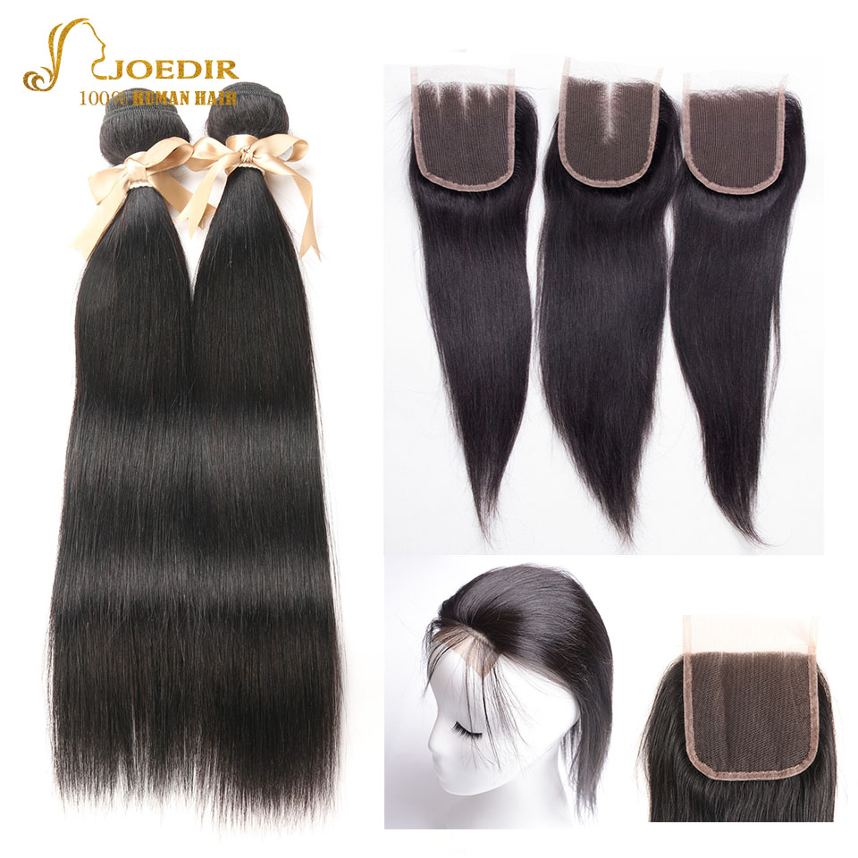 Joedir Hair Wet Straight Wavy 2PCS Hair Bundles Extensions With Closure 100% Human Hair Beauty Supply For Super Salon Worldwide
