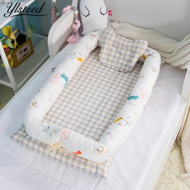 Flat Head Baby Pillow Cotton Foldable Sleeper Portable Crib Infant Travel Bed Newborn Baby Crib Sleeping Bedding Cot Mattress