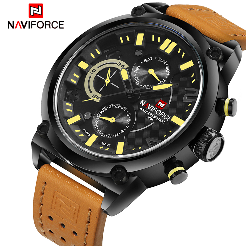 NAVIFORCE Top Brand Men Fashion Leather Sport Watches Men's Waterproof Date Quartz Wrist Watch Male Army 24 Hour Analog Clock все цены