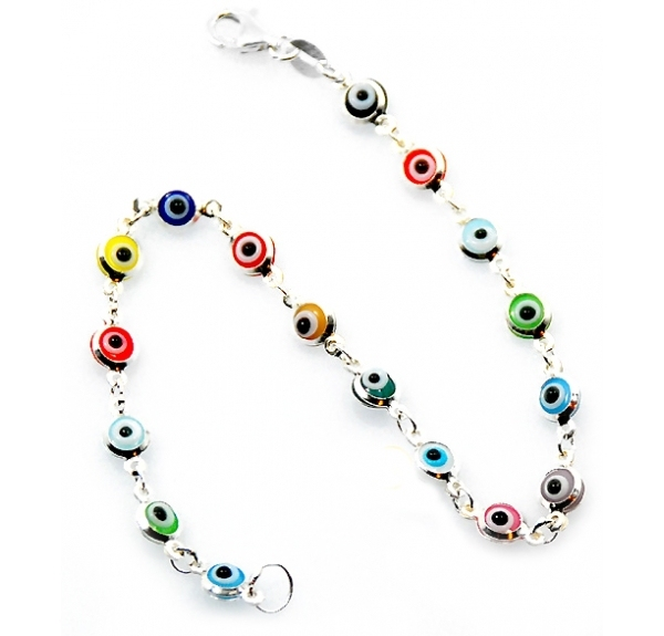 Multi Color 925 Sterling Silver Turkish Blue Evil Eye Bracelet Italy Murano Gl Mini Bead Hand