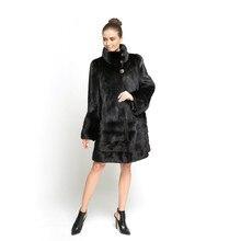 ZY89007 Winter Ladies Luxury Solid Mandarin Collar Real Mink Fur Women Winter Warm Fur Coat Fur Long Jacket