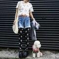 Мода женщины дамы черный хлопок крест распечатать леггинсы брюки сексуальные