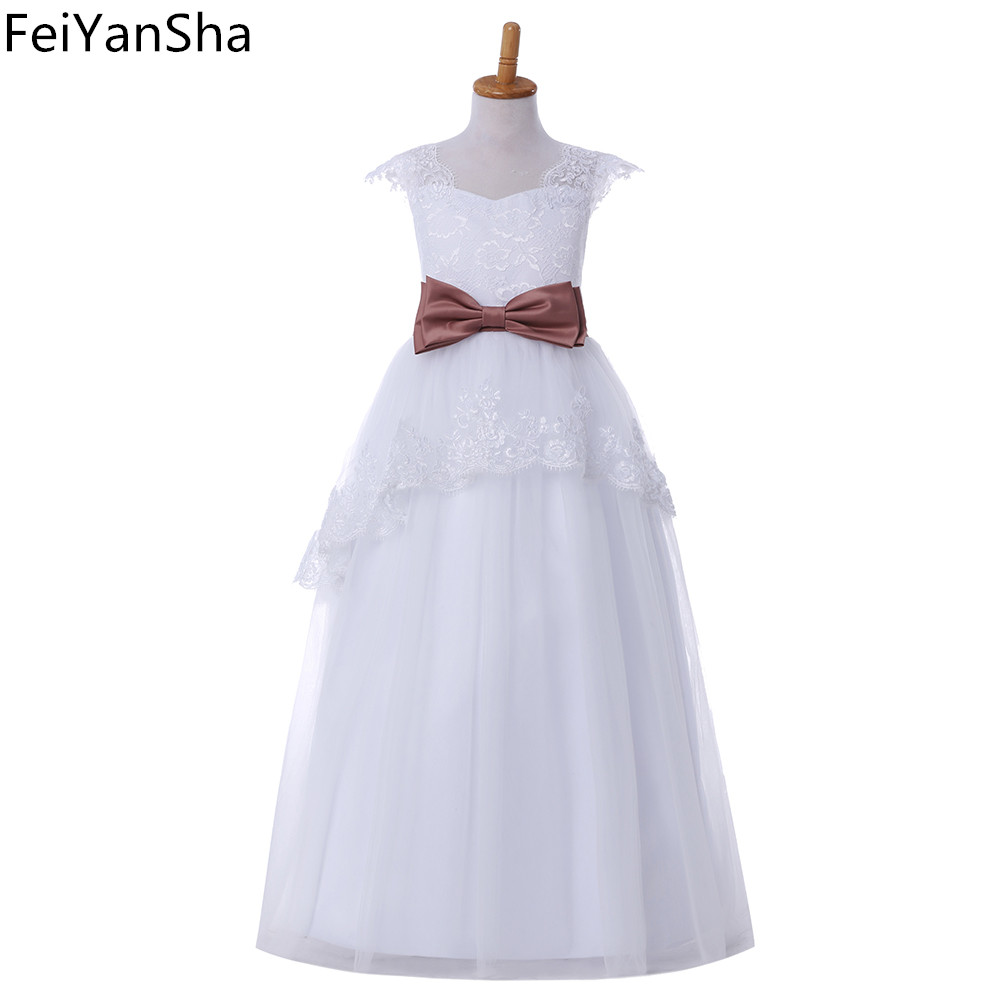 FeiYanSha Flower Girl Dresses Hole Ball Gown White Lace Sleeveless O Neck Long Wedding Pageant First Communion Dresses for Littl все цены