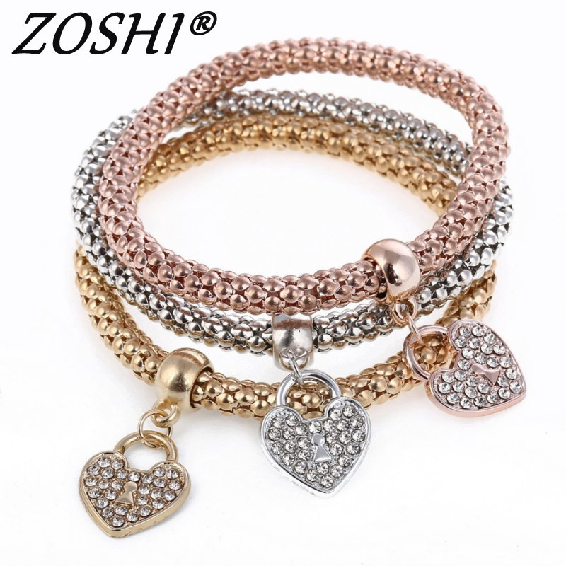 Fashion Infinity Heart Butterfly Crystal Gold Silver Charm Bracelets&Bangles Rhinestone Pendants Women Ladies Bracelets 3Pcs/Set
