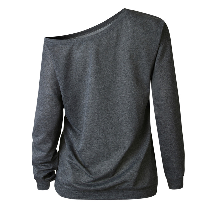 19 New Autumn Long Sleeve Women Casual Sweatshirts Off Shoulder Black Gray Tops Sweatshirts Streetwear Female Loose Sweatshirt 10