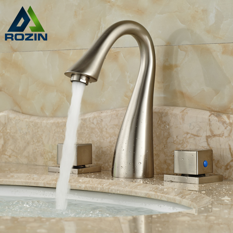 Swan Shaped Water Spout Dual Square Holders Deck Mount Brushed Nickel Lavatory Sink Faucet