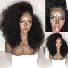 DLME Afro Kinky Curly Wig 180% Density Synthetic Lace Front Wigs With Baby Hair Heat Resistant Wigs For Black Women