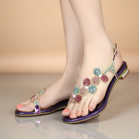 2017 Women Sandals Crystal National Style Women Flats Foreign Trade Shoes Summer Shoes Women Shoes