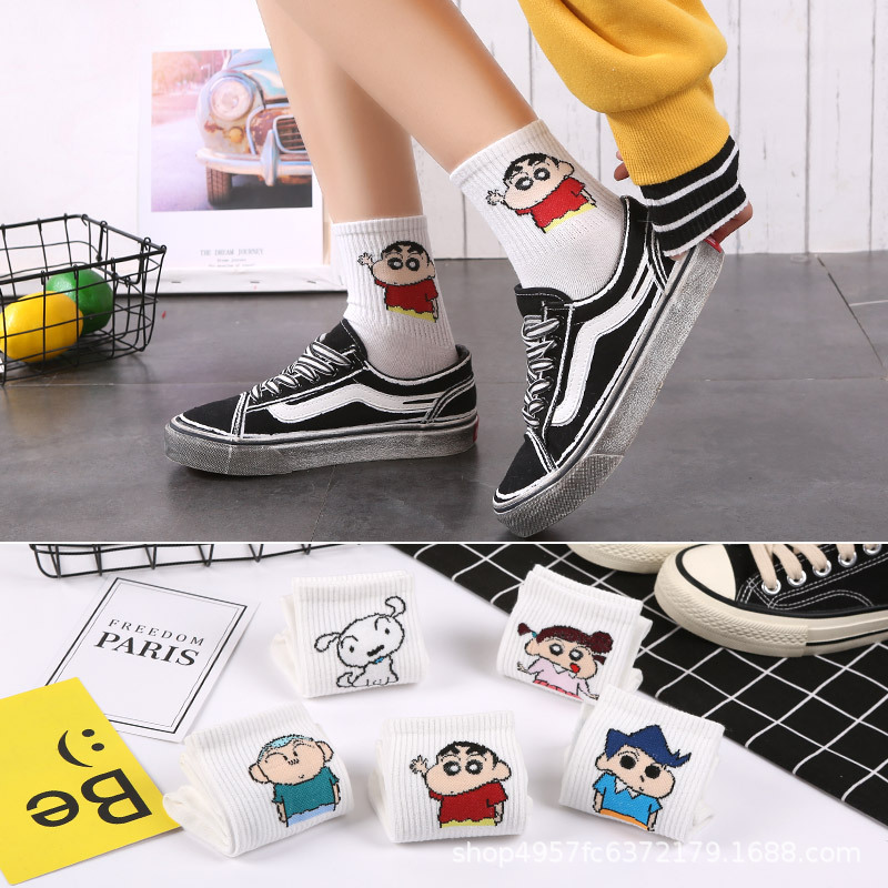 Japanese Harajuku Style Classic Cartoon Character Crayon Shin-chan Girl Socks Kawaii Dog Woman Ankle Socks Fashion Woman's Socks